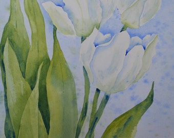 Art Print of Watercolor Painting of White Tulips