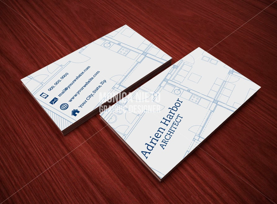 Printable Architect Business Card Template/ Interior Designer