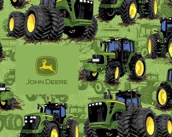 John Deere Tractor Flip Cotton Fabric ~ 43 x 17 remnant
