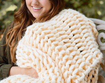 Over sized 40x50 Chunky Knit Throws, Hand Made, Hand Woven