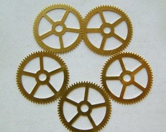 Steampunk Watch pieces and parts Clock gears - 5 Large brass Gears Cogs Wheels 25mm