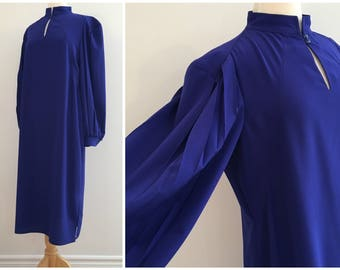 Vintage BRIGHT BLUE MIDI Dress/ 1980s Secretary Dress/Size Small-Medium
