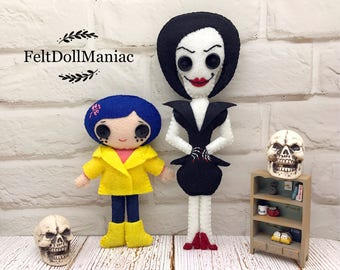 PDF Pattern and Tutorial.Coraline and Other Mother. Felt Doll. Halloween Pattern. Halloween Decoration. Halloween Doll.
