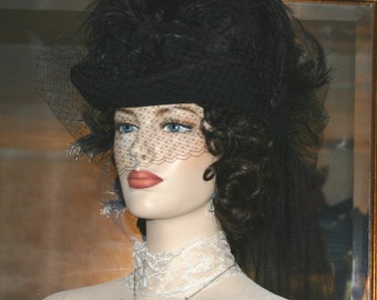 Victorian Hat, SASS Hat, Steampunk Hat, Funeral Hat, Mourning Hat, Gothic Hat,  Black Hat - Spirit of Seattle
