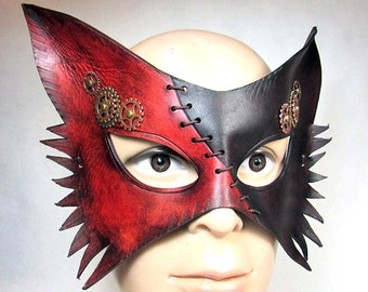 Steampunk wolf Mask. Two-Tone in dark cherry and brown leather with stitching, turning gears in brass and copper, handmade animals cat fox