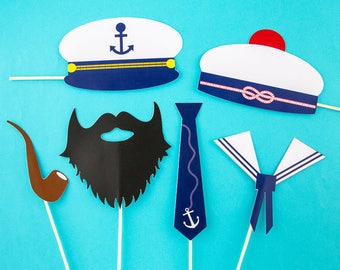 Set of 6 marine & sailor - funny pictures photobooth accessories