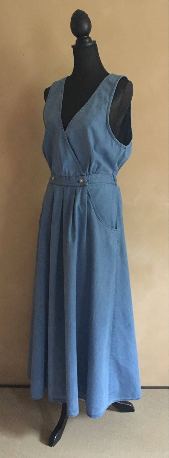 Vintage Jean Dress - Wrap Front with silver heart buttons - Willow Ridge - 80's