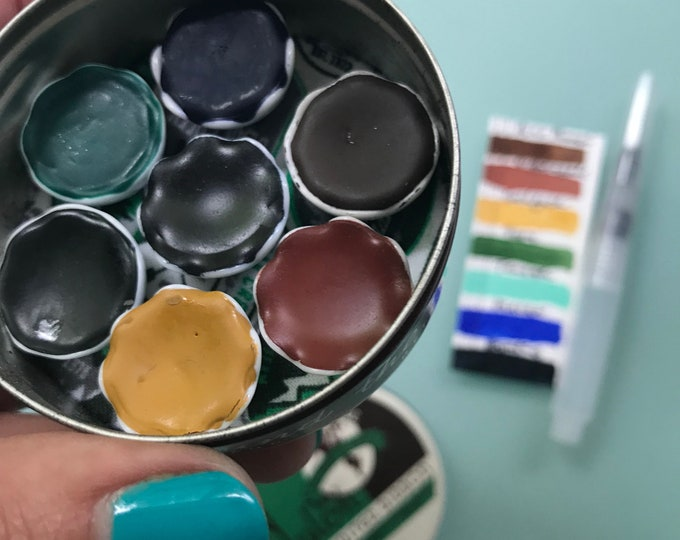 Handmade watercolor paint palette LIMITED edition 7 porcelain well- in vintage Typewriter Tin - with Water Brush and Free Shipping in US