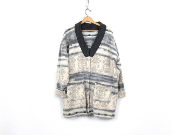 Long fleece jacket Gray and White Duffel Ski blanket Coat Button Up Cocoon coat Slouchy Fuzzy sweater jacket Womens Size Large XL