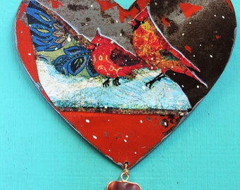Heart - vintage metal ornament or hanging wall decor - beautiful red cardinals in the snow decoupaged on red distressed heart
