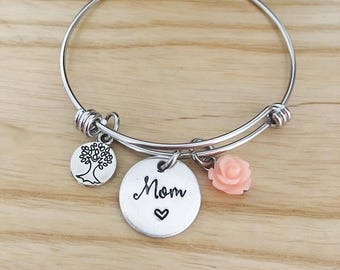 Mom bangle bracelet - Mothers Day jewelry bracelet - hand stamped jewelry - gift for mom - Mothers Day Gift for mom - hand stamped bracelet