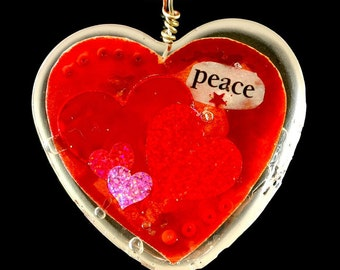 """Heart Shaped Epoxy Resin Pendant - """"Peace"""""""