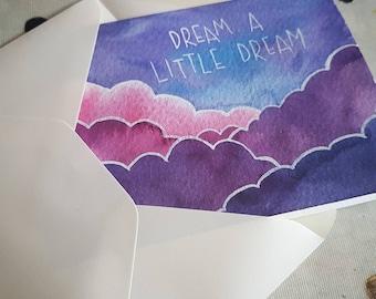 "Original Art Greetings Card, ""Dream A Little Dream"" Cloud Painting"