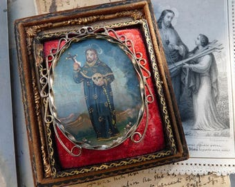 Antique Memento Mori Saint Holding Skull Talisman, Antique Miniature Religious Painting, offered by RusticGypsyCreations