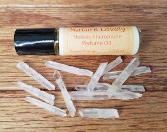 Sweet Orange - Quartz Crystal Pheromone Perfume Oil by Nature Lovely // For Women // Vegan // Sweet Orange Essential Oil // Almond Oil