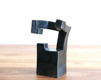 Signed abstract bronze sculpture, Eduardo Chillida style, 1990s / art modernist modern paperweight cabinet of curiosities curiosity