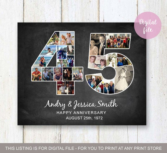 Wedding Gift Ideas For Brother: Photo Collage 45th Anniversary Gift For Wife Husband Daughter