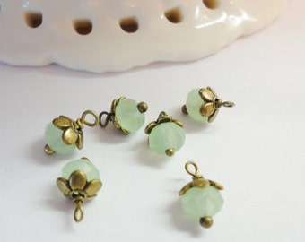 Mint Opal green Bead Dangles charms  pendant earrings jewelry supplies