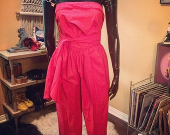 Vintage 80's Red Strapless Jumpsuit