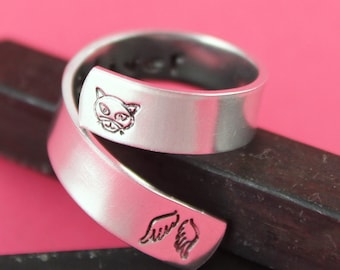 Cat Ring - Pet Memorial Ring - Personalized Cat Ring - Custom Ring - Silver Ring - Wrap Ring - Twist Ring - Pet Loss Gift - Pet Name Ring