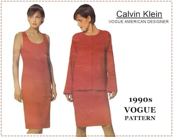 1990s Calvin Klein Sewing Pattern - Vogue 2310 Sewing Pattern - Misses Jacket, One-Piece Dress - Size 18 20 22 - Bust 40 42 44 - UNCUT