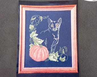 Counted cross stitch kit, Design Connection Boo Kitty needlework kit dated 1994