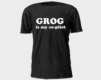 Mens Pirate T-Shirt - Grog is my Copilot