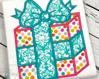 Gift Present Applique Digital Machine Embroidery Design 4 Sizes
