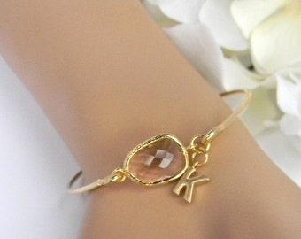 Gold Bangle Bracelet / Peach Champagne Bracelet / Bridesmaid Gift / Bridesmaid Jewelry / Bridesmaid Bracelet /Personalized Bangle Bracelet