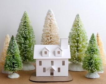 Putz House Ornament DIY Kit Colonial Glitter House Christmas Decoration Christmas Mantle Decor