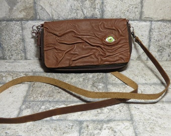 Wallet Purse Cross Body With Eye Hocus Pocus Brown Leather Detachable Strap Convertible 401