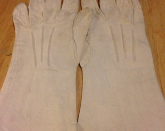 White Suede Kid Gloves