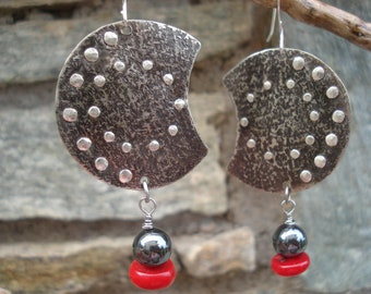 Hammered Silver Crescents Sterling Silver Earrings Coral Hematite Modern Earrings Metalwork Oxidized Cold Connection Silver Earrings