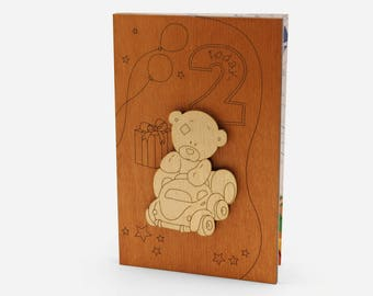 2 Year Old, Wood Cards, Two Year Old, Birthday Card, 2nd Birthday, Kids Birthday Cards, Birthday Gifts For Kids, Wood Work, Wood Gifts