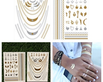 Charming - Metallic Jewelry Temporary Tattoo (Set of 2 Sheets)