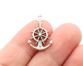 6 Pcs Anchor and Wheel Charms Boat Charms Pendants Antique Silver Tone 2 Sided 21x14mm - YD1188