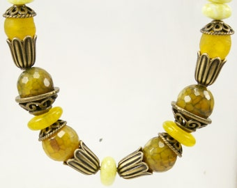 Lemon yellow jade, agate, and antique brass necklace