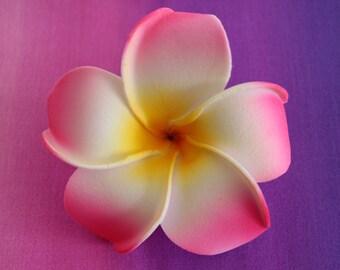 Hot Pink Plumeria Hair Flower Clip, Hawaiian Hair Flower, Flower Gift, Hair Accessories, Gift for Her, Foam Hair Flower. Handmade in Hawaii.