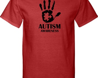 Men's Autism Awareness Hand Tall Tee T-Shirt HAND-PC61T