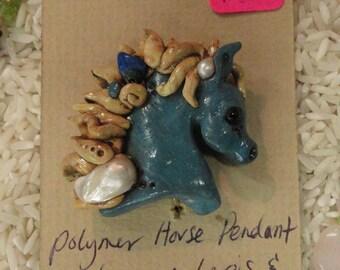 Folk Gemstone Polymer Horse Pendant