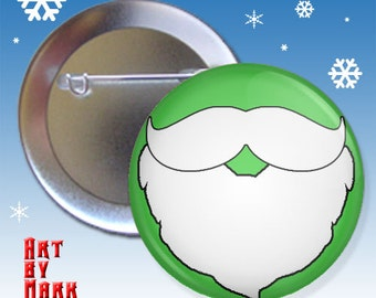 Christmas Mustache and Beard Green holiday 1.25 inch - Pinback Button