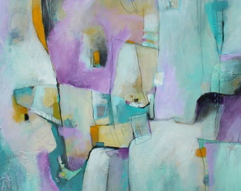 Contemporary Soft and Tranquil Abstract  Cascade of Time Acrylic on Canvas  Original by Jodi Ohl
