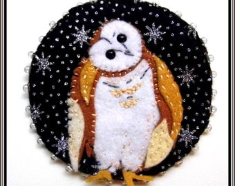 Night's Herald felt sewing kit - craft your own owl! 100% wool felt, pattern and full instructions.