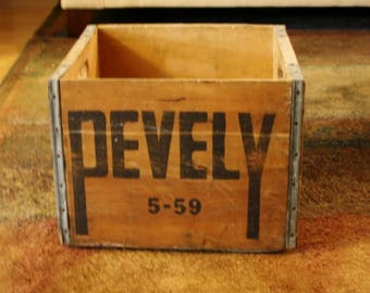 Vintage Pevely Dairy Milk Wood Metal Crate