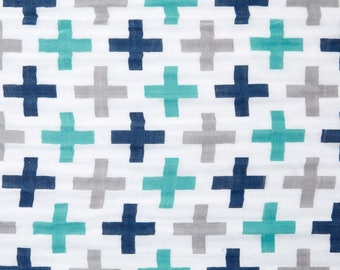 Navy Teal and Gray Plus Swaddle / Gauze / Muslin Cotton Shannon Fabric by the Yard