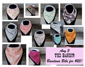 Bandana Bib Set of 3, Bandana Bib, Drool Bib, Toddler Bandana Bib, Handkerchief Bib, Baby Gift, Teething Bib, Dribble Bib, Mix & Match Bibs