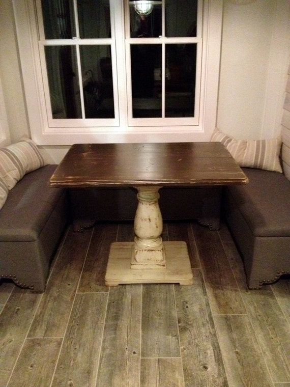 Elegant Handcrafted Rectangle Pedestal Table Distressed Brown And