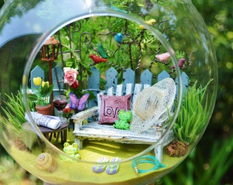 """Song Bird Garden Terrarium Kit with Bench ~ 8"""" Air Plant Terrarium Kit ~Butterfly ~ Frogs ~Table ~ Red Wine ~ Gift ~ Artificial Plants"""