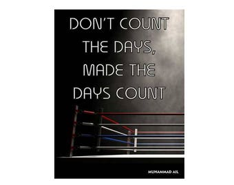Don't count the days make the days count inspirational quote vintage style metal advertising wall plaque sign or framed picture frame