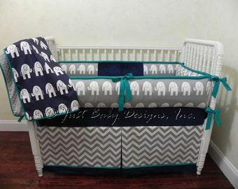 Elephant Baby Bedding Set Ethan - Boy Crib Bedding,  Elephant Crib Bedding, Navy, Gray, and Teal Baby Bedding
